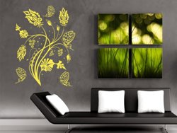 Samolepky na zeď Květiny s motýly 015