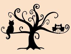 Samolepky na zeď Kočka na stromě 0442