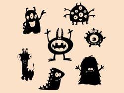 Samolepky na zeď Sada příšerek 001