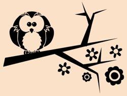 Samolepky na zeď Větev s ptáky 002