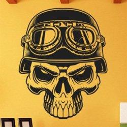 Samolepky na zeď Motorkářská lebka 1222