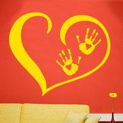 Samolepky na zeď Srdce s dlaněmi 001