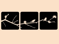 Samolepky na zeď Větev s ptáky 001