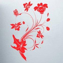 Samolepky na zeď Květiny s motýly 013