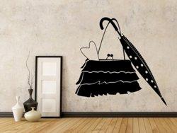 Samolepky na zeď Kabelka a deštník 0239