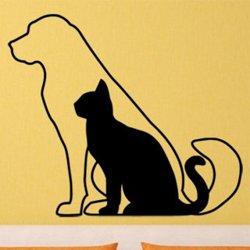 Samolepky na zeď Kočka a pes 0542