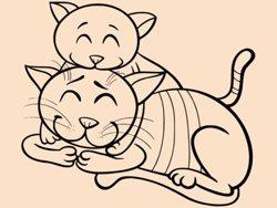 Samolepky na zeď Dvě kočičky 0532