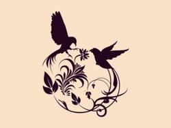Samolepky na zeď Květiny s ptáky 001