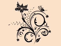 Samolepky na zeď Květiny s motýly 014