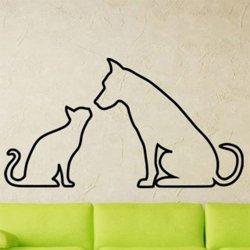Samolepky na zeď Kočka a pes 0549