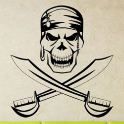 Samolepky na zeď Lebka piráta s meči 1170