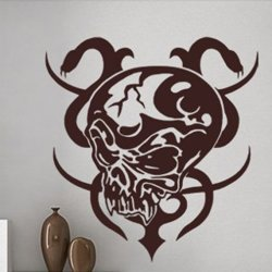 Samolepky na zeď Lebka s hady 001