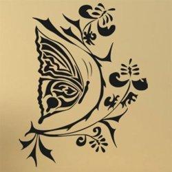 Samolepky na zeď Květiny s motýly 004