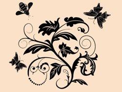 Samolepky na zeď Květiny s motýly 011