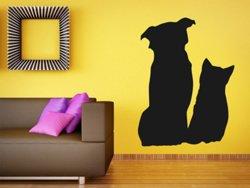 Samolepky na zeď Kočka a pes 0571