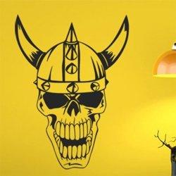 Samolepky na zeď Lebka vikinga s rohy 1166