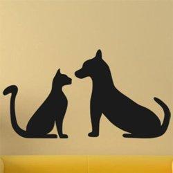 Samolepky na zeď Kočka a pes 0550