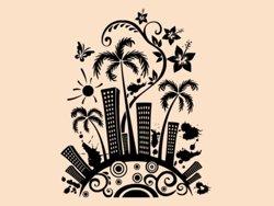 Samolepky na zeď Město s palmami 0207