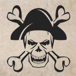 Samolepky na zeď Lebka piráta 1168